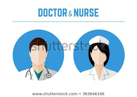 Nővér ikon rajz stílus fehér nők Stock fotó © ylivdesign