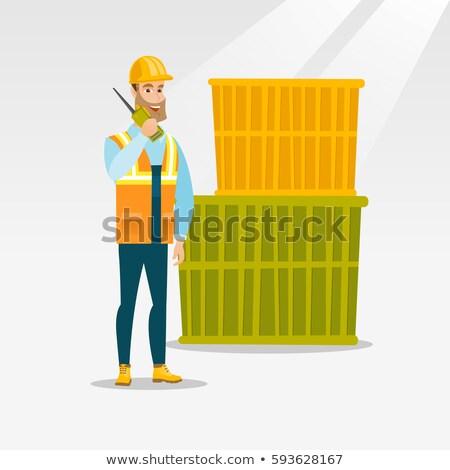 puerto · trabajador · hablar · inalámbrica · radio · pie - foto stock © rastudio