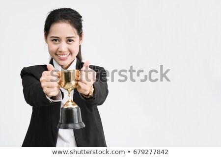 Asia mujer de negocios trofeo dorado Foto stock © RAStudio