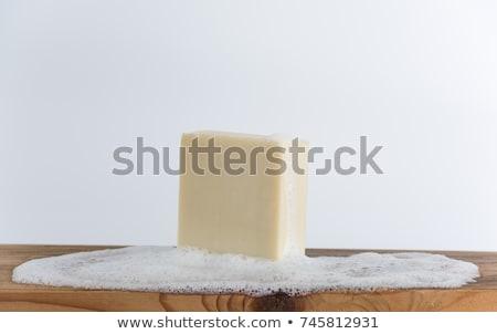 Wykonany ręcznie mydło żółty piana czarny piękna Zdjęcia stock © OleksandrO