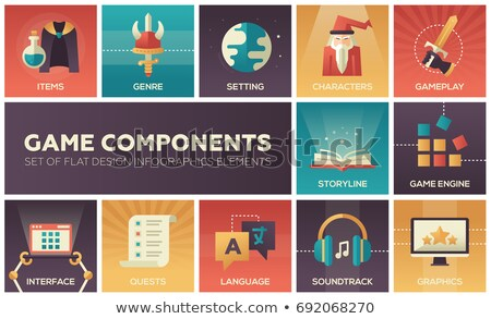 Game Components - modern vector flat design icons set Stock photo © Decorwithme