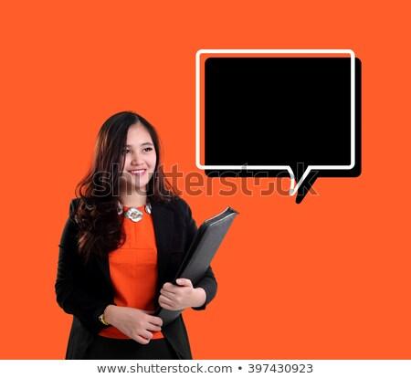 Portret glimlachend zakenvrouw bestand permanente Stockfoto © wavebreak_media