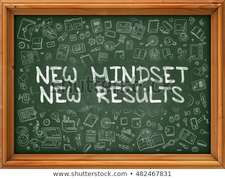 nuevos · mentalidad · resultados · mano · escrito · negro - foto stock © tashatuvango