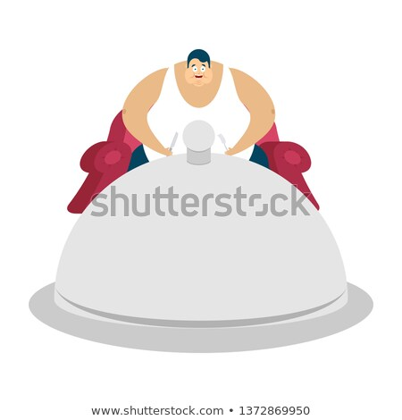 fat guy is sitting on chair and dish tray. Glutton Thick man an Stock photo © popaukropa