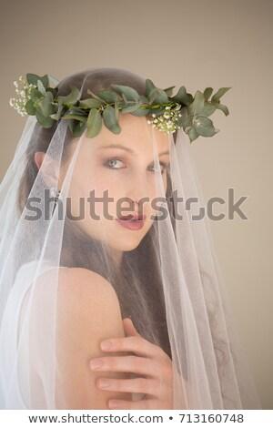 Portre güzel gelin gelinlik taç ayakta Stok fotoğraf © wavebreak_media