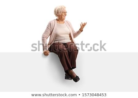 Assis femme rire côté blanche Photo stock © feedough