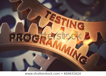 Golden Cog Gears with Testing Programming Concept. 3D. Stock photo © tashatuvango