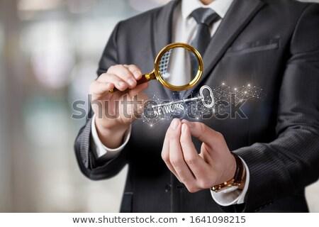 Weboldal rangsor nagyító régi papír sötét zöld Stock fotó © tashatuvango