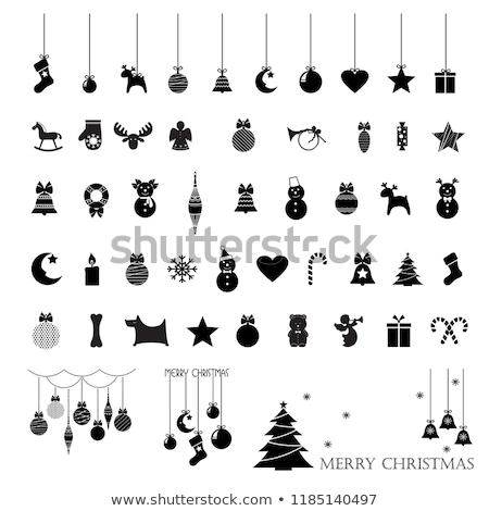 Christmas decorations with toy horses and gift boxex stock photo © dariazu