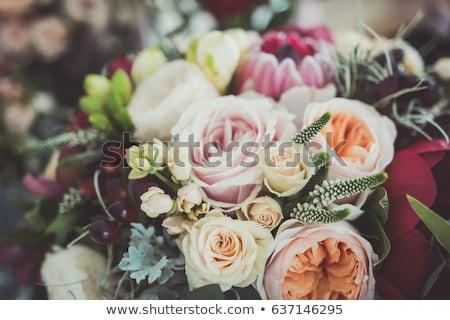 Zarif çiçekler buket beyaz mor dekoratif Stok fotoğraf © zhekos