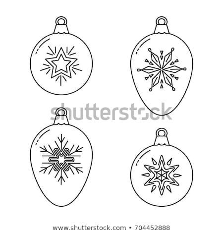 lineart design of Christmas balls Stock photo © frescomovie