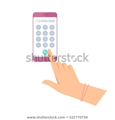 ストックフォト: 手 · 触れる · アプリ · キーパッド · 現代 · キーボード