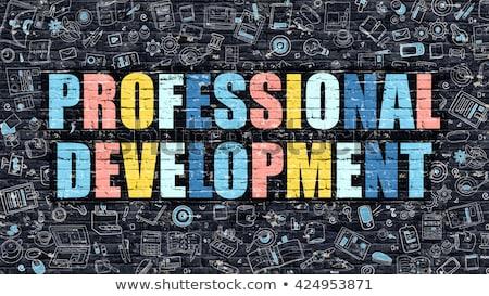 Talento desenvolvimento escuro parede de tijolos rabisco ícones Foto stock © tashatuvango