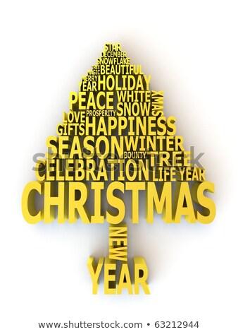 Stock fotó: Absztrakt · karácsonyfa · szavak · boldog · új · évet · 3D · 3d · render