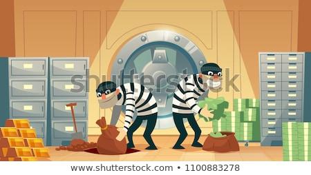 Férfi széf védelem tolvajok illusztráció ajtó Stock fotó © adrenalina