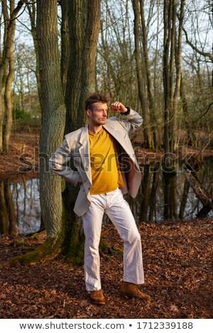 Fiatal férfiak paródia modern divat modell póz Stock fotó © Massonforstock