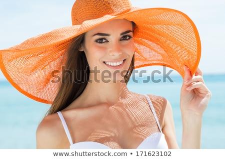 Vrouw zonneschijn hoed schaduw profiel Stockfoto © IS2