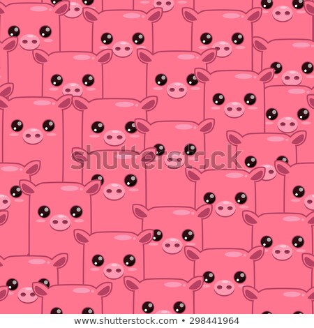 Pig seamless pattern. Background of animals. A herd of pigs Farm Stock photo © popaukropa
