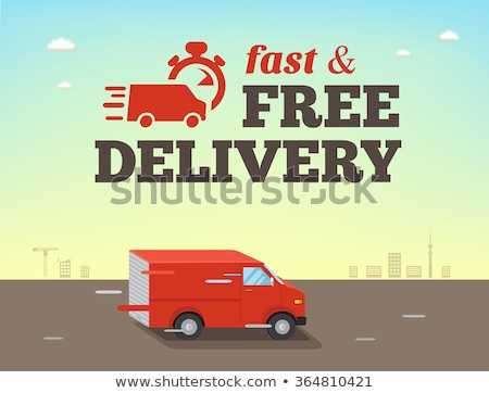 Fast food delivery poster with courier on car Stock photo © studioworkstock