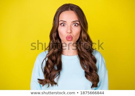 Wiać mnie kiss piękna młoda kobieta Zdjęcia stock © hsfelix