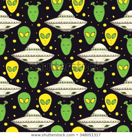 UFO and alien seamless pattern. Vector background Stock photo © popaukropa