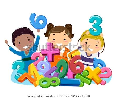 Stickman Kids Math Numbers Symbols Stock photo © lenm