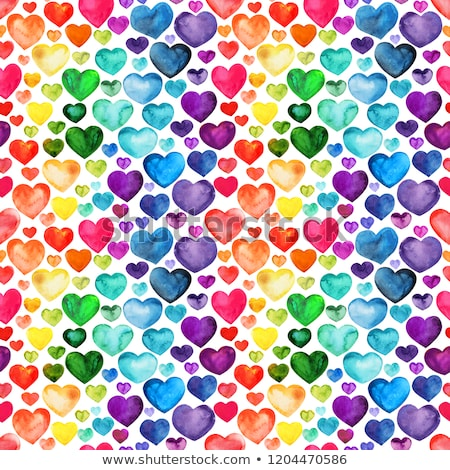 Stock photo: Seamless pattern of red hearts on a turquoise background
