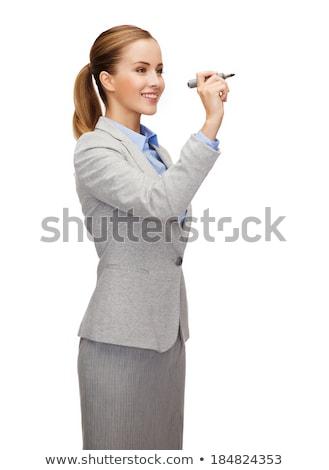 femme · d'affaires · écrit · marqueur · écran · belle - photo stock © hsfelix