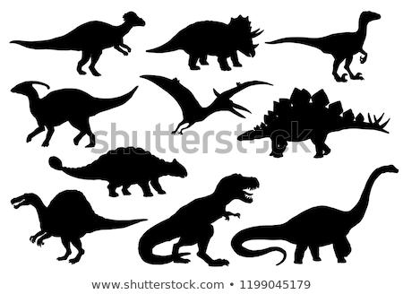 dinoszaurusz · sziluettek · háttér · illusztráció · dinoszauruszok · naplemente - stock fotó © krisdog