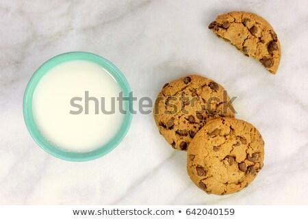 Stock fotó: Fél · tej · sütik · étel · szett · felfelé