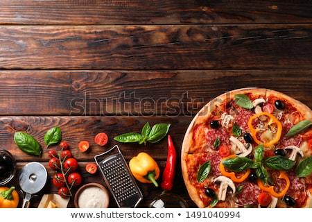 Pizza madeira restaurante queijo jantar oliva Foto stock © M-studio