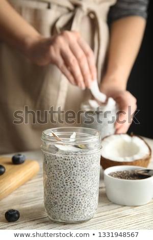 Pudding szkła jar nasion kopia przestrzeń mleka Zdjęcia stock © Melnyk
