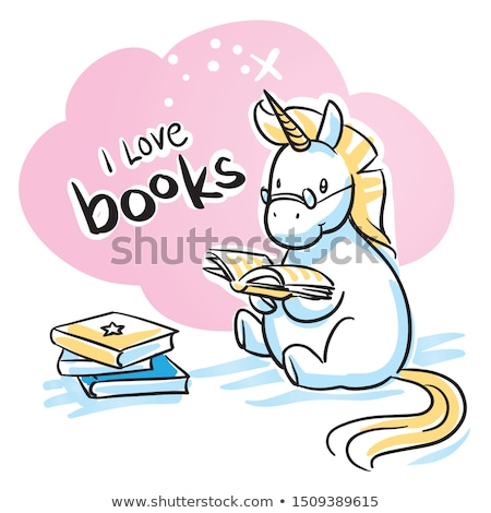 Regenboog boeken lezing leuk poster grillig Stockfoto © lenm