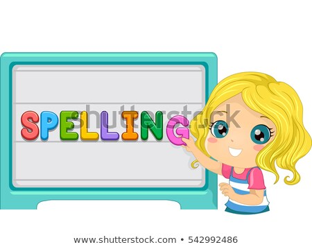 Spelling Magnetic Board Kid Girl Stock photo © lenm