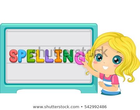 spelling magnetic board kid girl stock photo © lenm