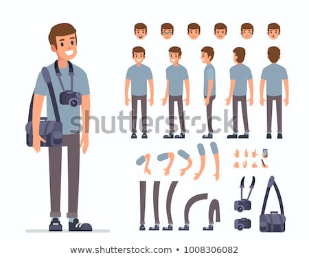 Flat Cartoon Character with Action Camera Stock photo © Voysla