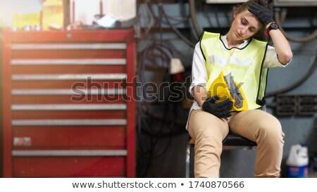 Helm bouwvakker business vrouw pop gewicht Stockfoto © toyotoyo