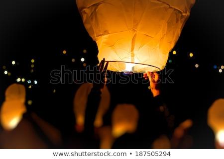 Vliegen chinese papier lantaarns aquarel maan Stockfoto © kostins