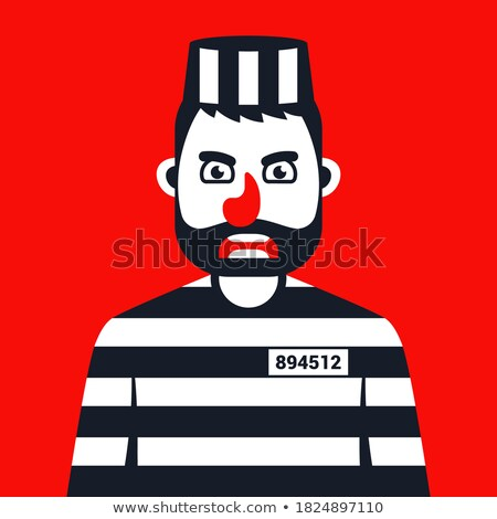 The convict criminal in striped uniform isolated on white Stock photo © Elnur