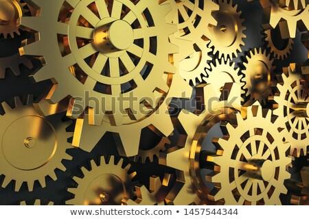 Metal Industry Concept. Golden Cogwheels. 3D Illustration. Stock photo © tashatuvango