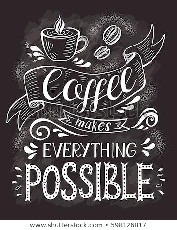 Kávé poszter főcím csésze forró ital logo Stock fotó © robuart