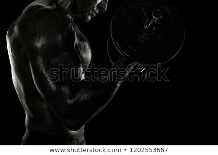 Atletisch man opleiding biceps gymnasium zwart wit Stockfoto © alphaspirit