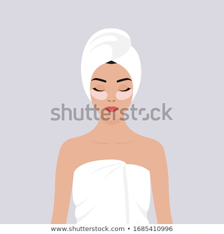young girl with towel wrapped on her head vector isolated illustration stock photo © pikepicture