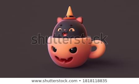 Cartoon heks kat illustratie heksenhoed gelukkig Stockfoto © cthoman