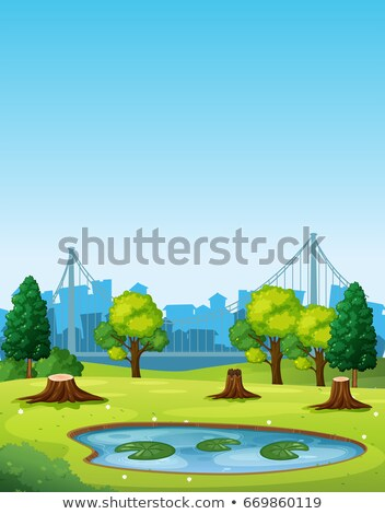 Park scene with pond and chopped trees Stock photo © colematt