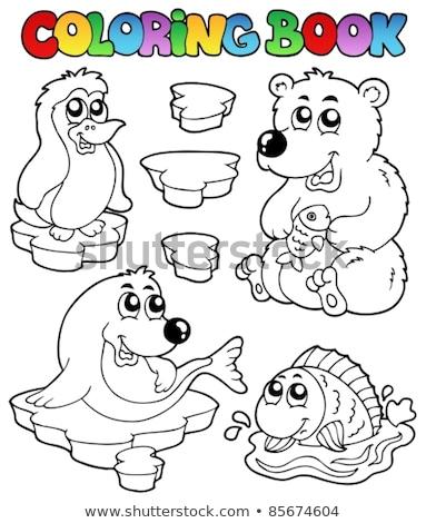 Livro para colorir inverno pinguim tópico livro feliz Foto stock © clairev