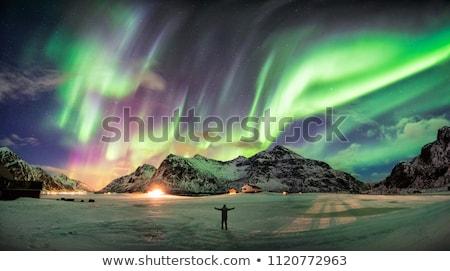 surpreendente · ártico · inverno · paisagem · pôr · do · sol · neve - foto stock © anna_om