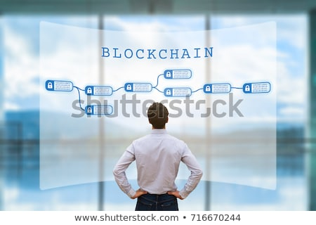 The blockchain innovative concept with businessman  Stock photo © Elnur