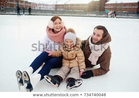 Kislány élvezi korcsolyázás téli idény lány város Stock fotó © Lopolo