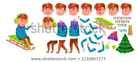 Boy Schoolboy Vector. Primary School Child. Animation Creation Set. Beautiful Kid. Winter Holidays.  Stock photo © pikepicture